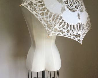 vintage parasol - CROCHETED cotton sun umbrella