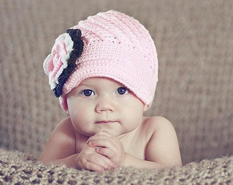 newborn hat, pink crocheted hat, Soft Pink Crocheted Beanie hat, baby hat