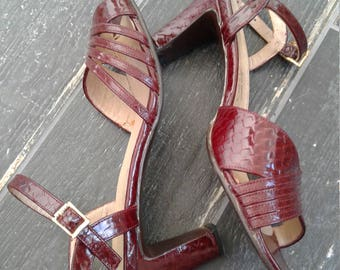 70s SOCIALITES—Oxblood Leather Strappy Sandals—Block Heels—Stamped Snake—Soles have been Replaced—Made in Spain—Size 7M