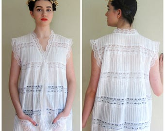 Vintage 1960s White Pintucked Lace Blouse / 60s Button Down Tunic Shirt Beach Cover Up Lounger Sleeveless / XL  Large
