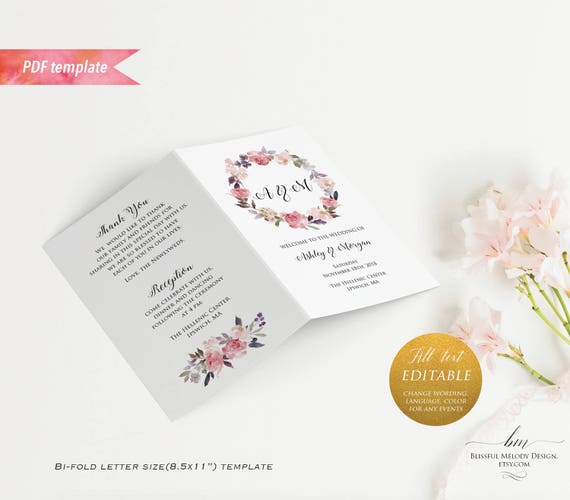 Printable Dusty Pink Floral Wedding Program Booklet Editable Bi - Floral wedding program templates
