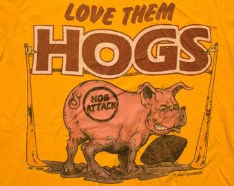 Love Them Hogs T-Shirt, Washington NFL Football Team, Vintage 80s, Super Screen Stars, Hog Attack Graphic Tee, Shirt Xplosion
