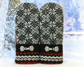 Upcycled Felted Wool Sweater Mittens in Black, White & Red Nordic Style