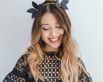Black Leather fascinator headband // black gold leather flower / black leaf crown / black leather headpiece / spring racing fascinator