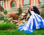 Sensational Blue and White Custom Designed Wedding Dress, Blue Bridal Gown