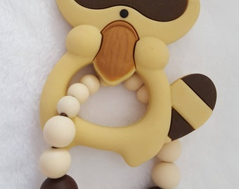 Silicone/Natural Racoon Teething Toy