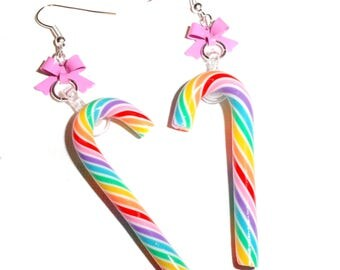 Sale ~ Candy Cane Bow Earrings (2 Styles)