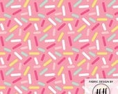 Pink Donut Sprinkles Fabric by the Yard - Cute Dessert Ice Cream Sprinkles Ditsy Print in Yard & Fat Quarter