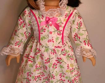 2 piece pink floral colonial,  dress and bloomers for 18 inch dolls