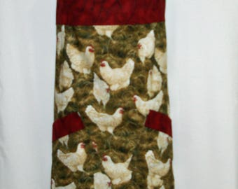 Rooster, Leghorn Chicken Large Apron, Plus Size, Farmhouse Decor, Egg Gathering, Custom With Name, No Shipping Fee, Ships Today, AGFT 1193