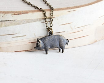 Small Oxidized Black Brass Pig Charm Necklace on Antiqued Brass Chain, Country Jewelry, Animal Lover Gift