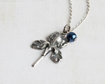 Antiqued Silver Iris Flower Pendant Necklace on Rhodium Plated Chain, Choose Pearl Color or No Pearl