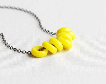 Lemon Yellow Rondelle Bead Cluster Necklace on Gunmetal Black or Silver Plated Chain