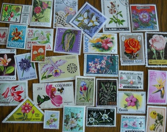 30 Vintage FLOWER Postage Stamps for crafting collage altered art journals scrapbooks philately commemorative stamps 2a