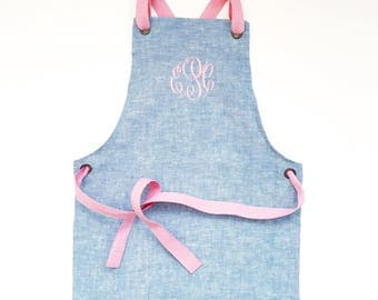 Chambray Children's Apron - Monogrammed, custom embroidery, baking apron, kids in the kitchen