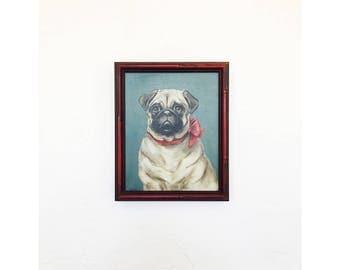Vintage Pug Portrait Oil Painting