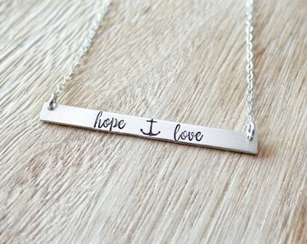 Hope & Love Anchor Inspirational Bar Necklace, Name Necklace, Quote Bar Necklace, Gold Bar, Silver Bar, Rose Gold Bar Necklace.