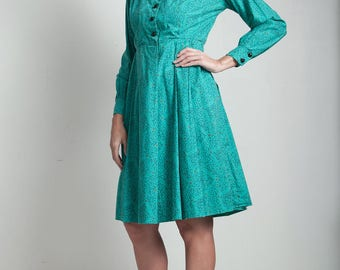 70s vintage green shirtwaist dress pleated geometric print long puff sleeve LARGE L