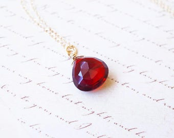 Necklace, Gold Necklace, Garnet Necklace, Gemstone Necklace, Birthstone Necklace, January Birthstone, Handmade Necklace, Gift for Her, Gift