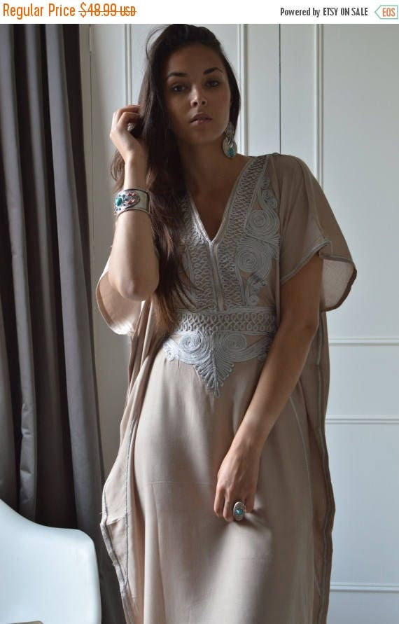 Kaftan SUMMER 10% OFF // Beige Caftan Resortwear with Grey Embroidery -loungewear,resortwear, Birthdays, Honeymoon, Bride's kaftan, wedding