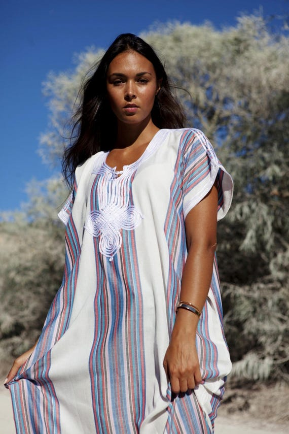 Resort Caftan Kaftan - White-for Ramadan, Eid wear, abayas, as beachwear, beach cover ups,resortwear, Kaftan, matern