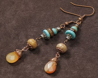 Fire Walker earrings: wire wrapped red agate, jasper, turquoise, copper