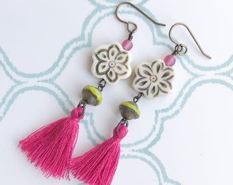 Earthy Fuchsia Hot Pink Tassels Dangle Earrings Lime Green Cream Tan Flower Glass Beaded Boho Bohemian Festival Jewelry Gypsy Gypset Organic