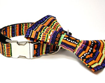 Handmade Dog Collar and Bow Tie Set - Halloween Stripes  - Custom Made Halloween Dog Collar with matching bowtie with Bats and Pumpkins