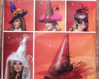 Misses Witch Hats in 4 Styles and Mask Butterick Pattern B5406 UNCUT
