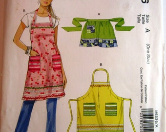 Easy Sew Aprons in 2 Styles Sizes S M L XL McCalls Stitch 'n Save Pattern M6536 UNCUT
