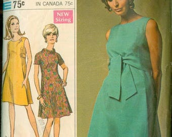 1960s  Mod Tent Dress Belted Sleeve Variations Unused Simplicity 7475 Size 12 Bust 34 Women's Vintage Sewing Pattern No Envelope