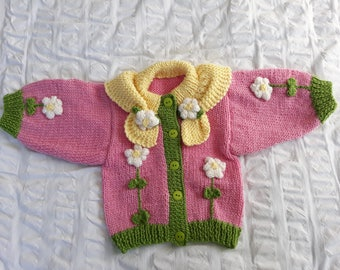 Pretty in Pink - Hand knitted - Wool - Cardigan
