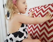 Girls Romper - Baby Romper - Girls Ruffle Romper - Newborn Ruffled Romper - Girls Jumper - Cow Outfit