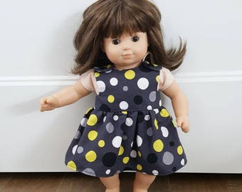 Bitty Baby Clothes -  Bitty Twin Doll Clothes - Bitty Baby Dress - Black Polka Dot Dress