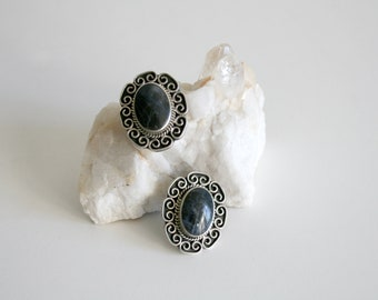 Mexico Taxco Cabochon Large Clip on Earrings
