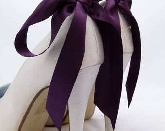 Purple Shoe Clips Bridal Shoe Clips Wedding Shoe Clips Bows for Shoes Prom by Seriously Sassyx Aubergine Blackberry Deep Purple
