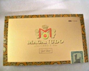 Cigar Box for crafting, purses, supply - MACANUDO - Gold Label - Tudor - Empty Wooden Box