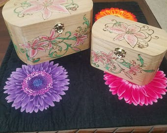 Wood gift/jewelry boxes, burned wood star-gazer lily design; set of two.