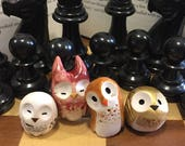 RESERVED for Ruth 4 owls: Harry Potter & Hedwig Clay Owls- Harry Potter Inspired Owlery Miniatures
