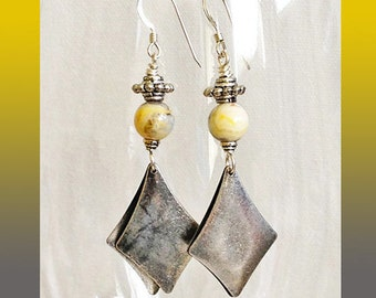 Hook Earrings Silver Aluminum Double Diamond Dangles Gold Gray Jasper Round Stones Fancy Pewter Spacer Beads on Top Sterling Silver EarWires