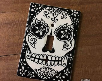 DISCOUNT Ceramic Switch Plate Cover - Sugar Skull Dia de los Muertos Home Decor
