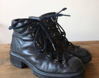 Vintage 90s Black Leather Lace Up Boots, Work Boots, Combat Boots, Distressed Boots, Hiking Boots, Women's Boots, Size 38, Size 8