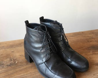 Vintage 90s Black Leather High Heel Boots, Lace Up Boots, Ankle Boots, Women's Boots, Size 38, Size 7