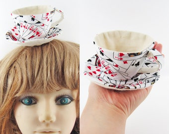 MADE-TO-ORDER ( 1 - 2 Weeks) Textile Teacup Fascinator (Hair Clip for Children & Adults) -Scattered Playing Cards *Alice in Wonderland!*
