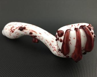 White Glass Pipe // Hand Blown Dripping Blood Sherlock
