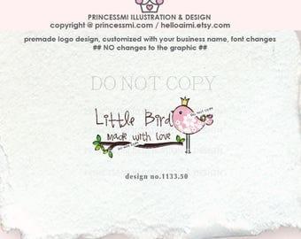 1133-50  bird logo, bird and crown,  premade logo design, bird tree branch logo, boutique logo business watermark, business logo