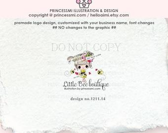 1211-14 Bee girl logo, honeybee logo, girl logo, honey bee doll logo , sketch, hand drawn illustration, kids boutique, business, watermark