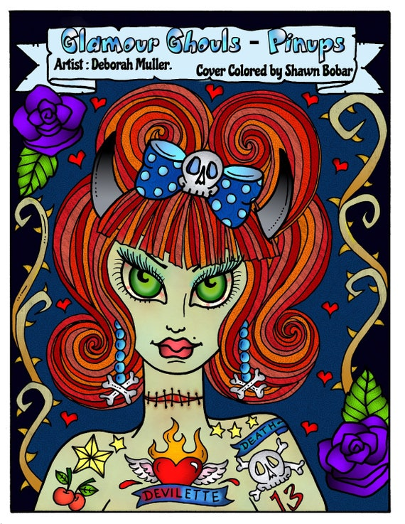 Glamour Ghouls Pin Ups Coloring Book Adult Color Halloween