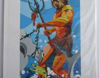 "8""x16"" Poseidon Giclee Canvas Print"