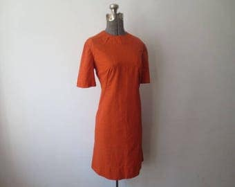 Vintage '60s Bright Orange Textured Cotton Short Sleeve Classic Shift Dress / Scooter Dress, 38 Inch Bust